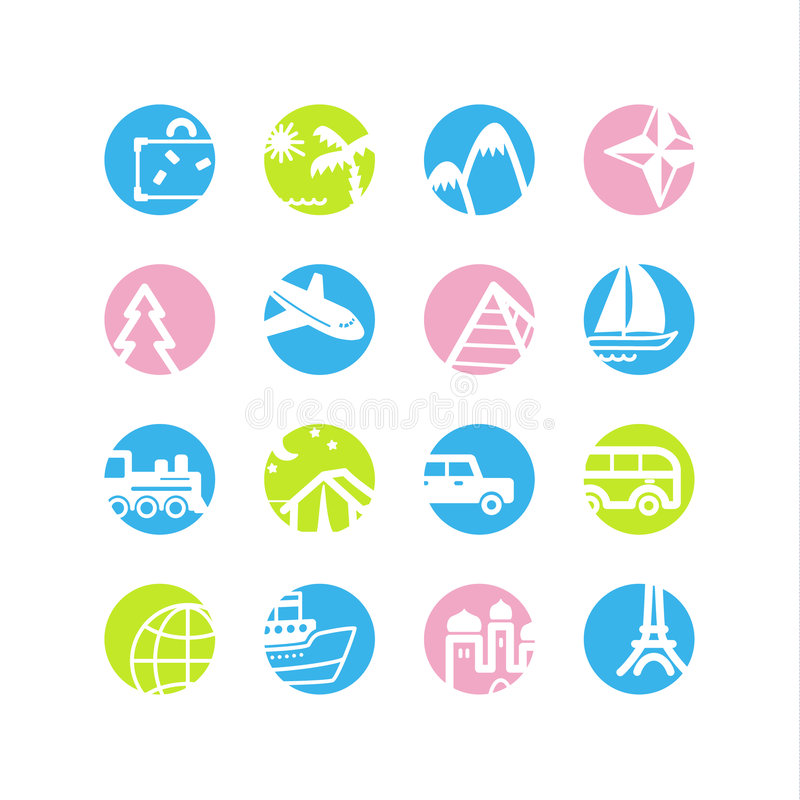 Spring circle travel icons. Vector web icons, spring circle buttons series, crop symbols stock illustration