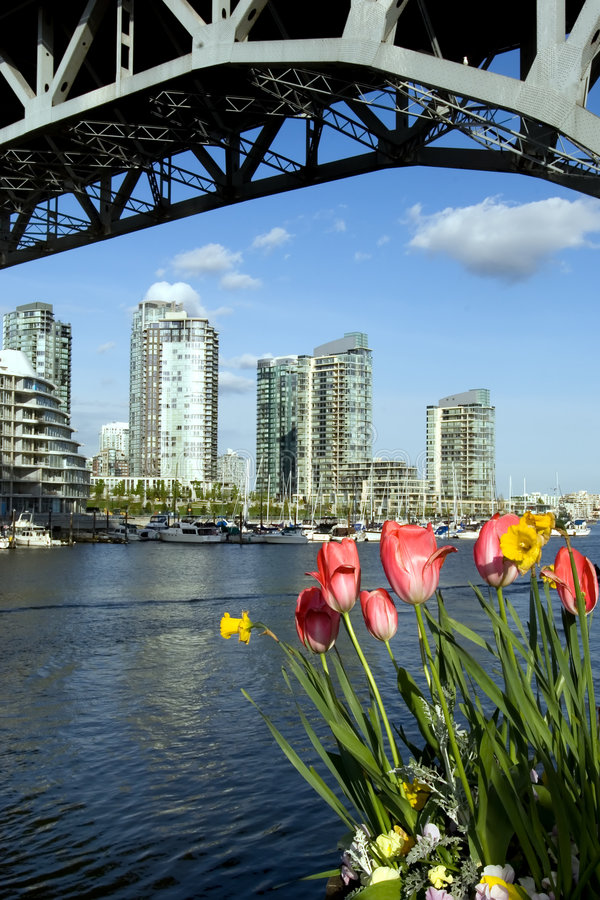 Spring city. Vancouver downton in April from Granville Island stock image