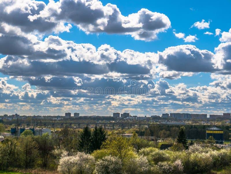 Spring city landscape stock image
