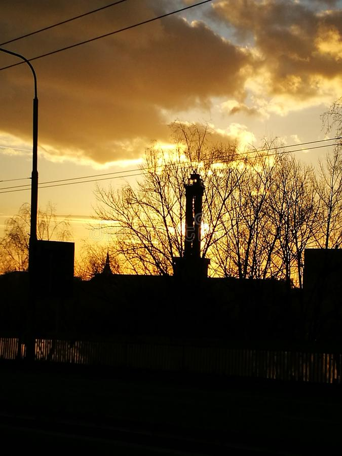 Sunset over the city royalty free stock photography