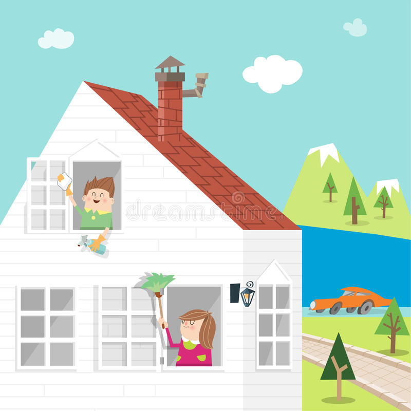 Spring-clean A stock illustration