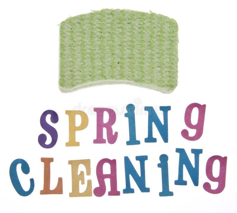 Spring Cleaning. It is time to clean up for spring! Spring cleaning themed image isolated on white with a clipping path stock photos