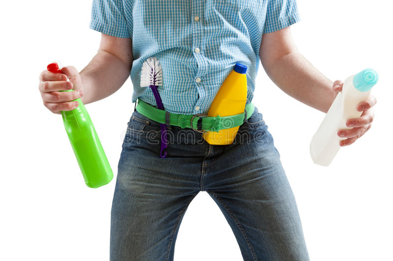 Spring Cleaning. Young man ready to start spring cleaning royalty free stock photos