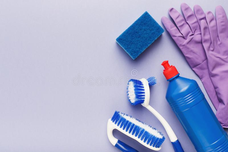 Various cleaning supplies, housekeeping background royalty free stock image