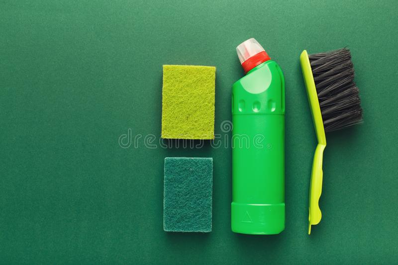 Various cleaning supplies, housekeeping background royalty free stock photography