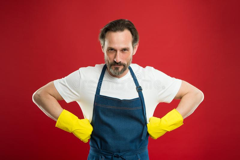 Spring cleaning. Commercial cleaning company concept. domestic helper. Maid or houseman cares about house. Bearded man stock images
