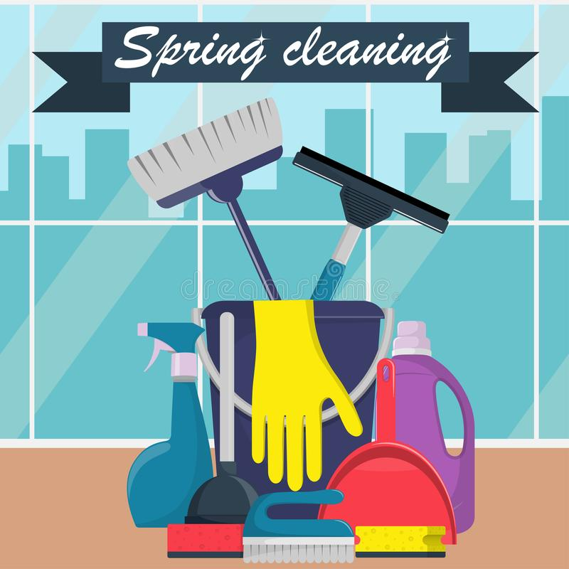 Spring cleaning concept. Bucket, scoop and brush for sweeping, washing powder, bottle of spray, sponge, brush, glass scraper, rubb vector illustration