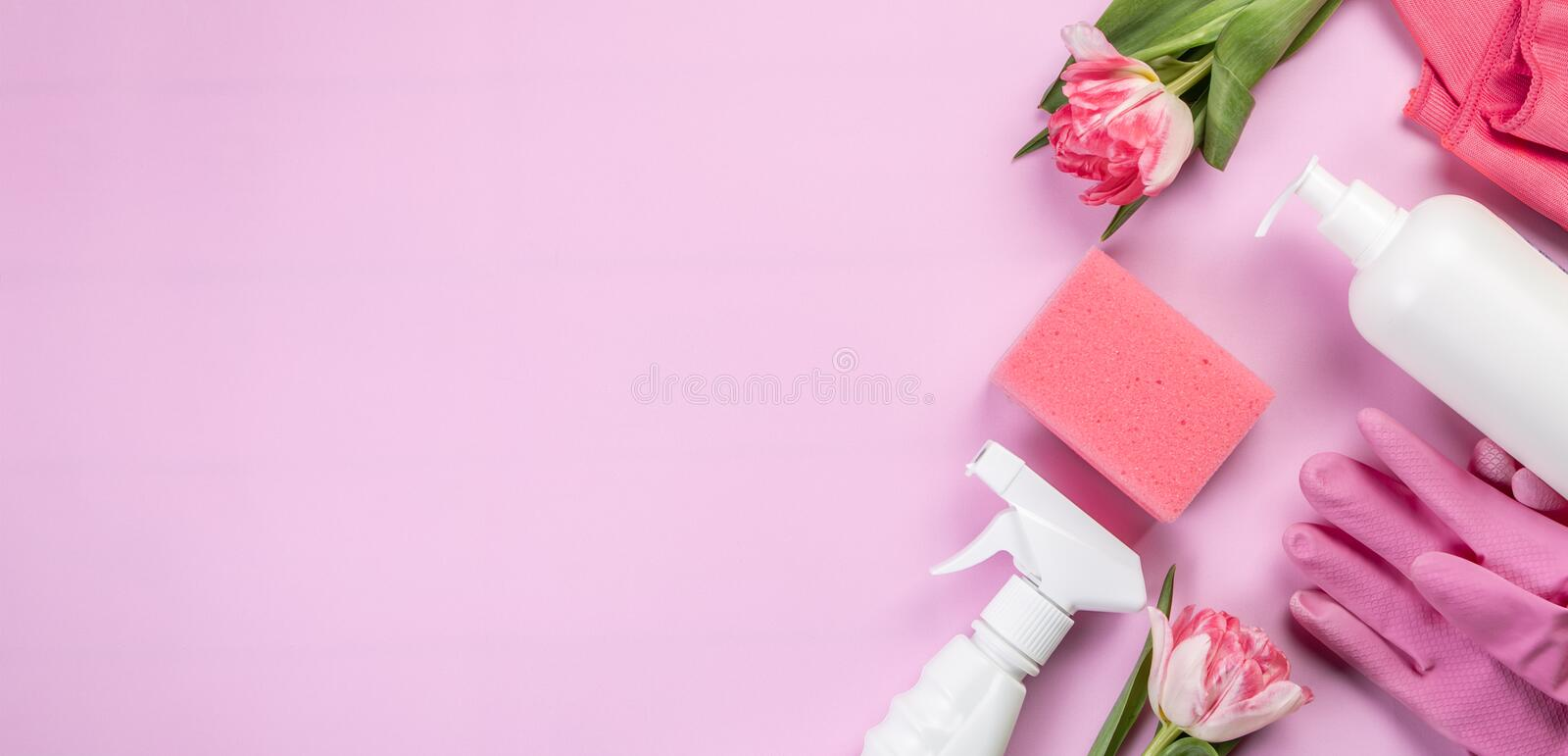 Spring cleaning concept - cleaning products, gloves sponges. Top view stock photos