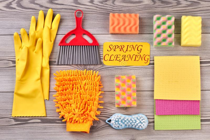 Spring cleaning concept with supplies. stock photos
