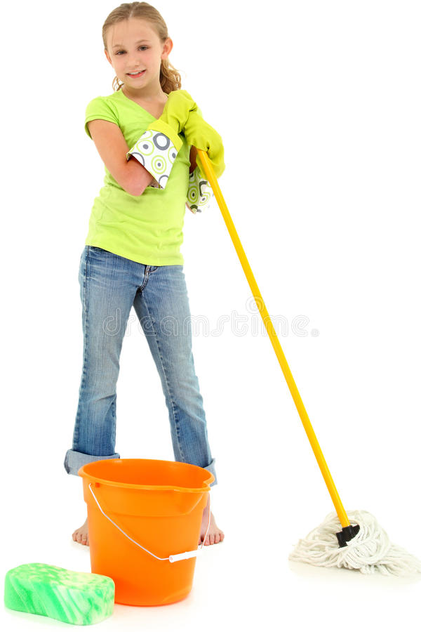 Spring Cleaning Girl Child Mop Bucket Smile. Beautiful Young Girl Doing Spring Cleaning Chores with Mop and Bucket barefoot over white background royalty free stock photos