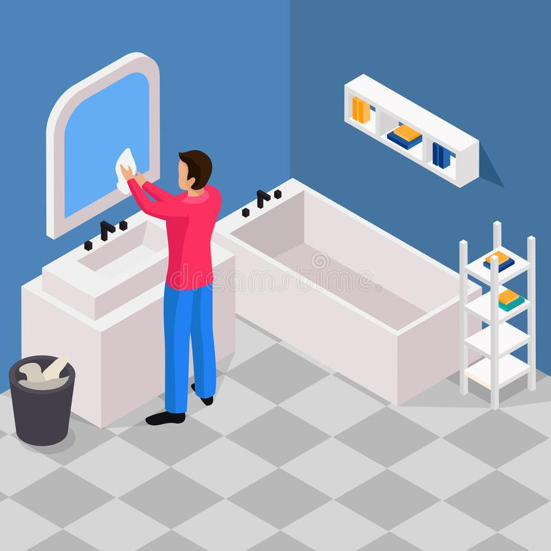 Spring Cleaning Isometric Background stock illustration