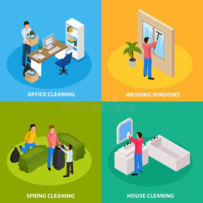 Spring Cleaning Isometric Concept stock illustration