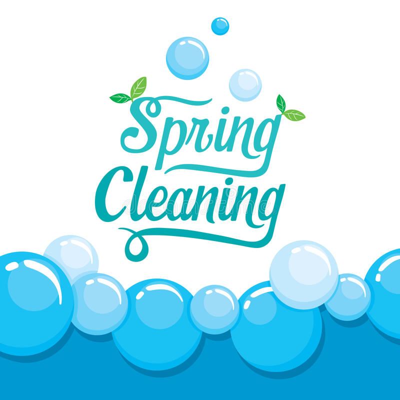 Spring Cleaning Letter Decorating And Foam Background royalty free illustration
