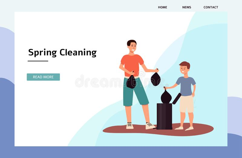 Spring cleaning - banner or landing page with characters flat vector illustration. stock photography
