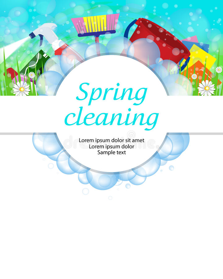 Spring cleaning service concept. Tools for cleanliness and disinfection. Soap bubbles frame. Vector. Illustration vector illustration