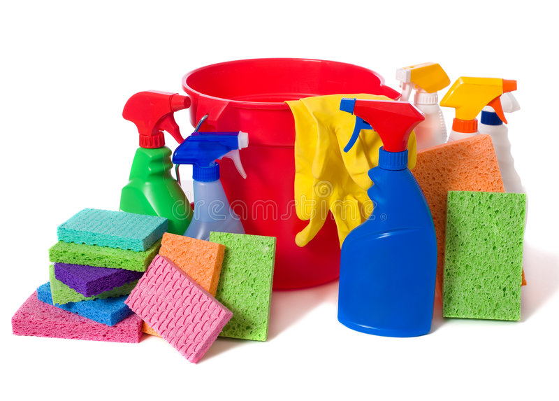 Spring Cleaning Supplies royalty free stock image