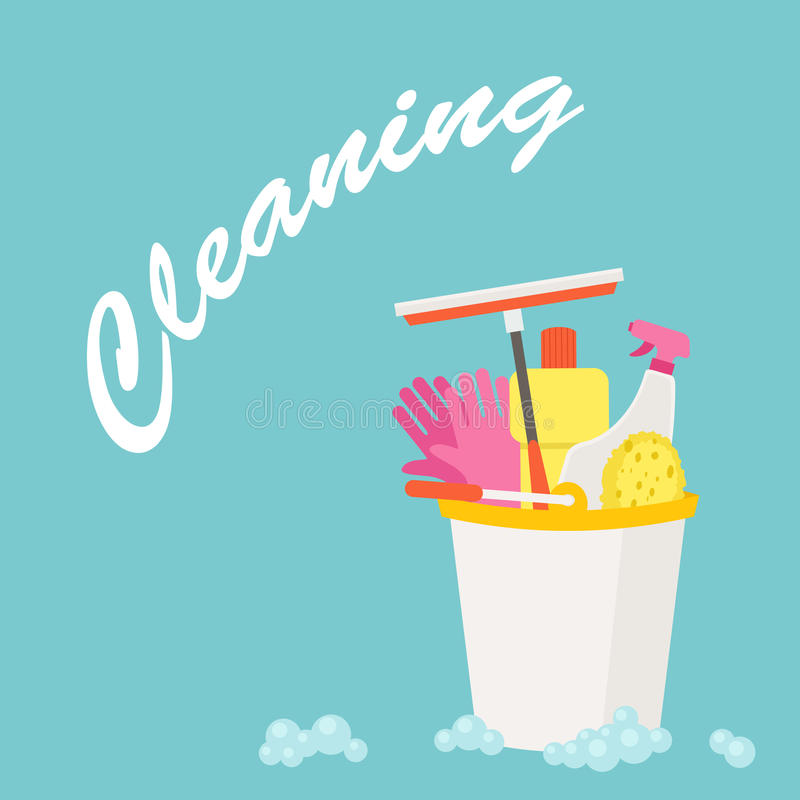 Spring Cleaning vector flat design royalty free illustration