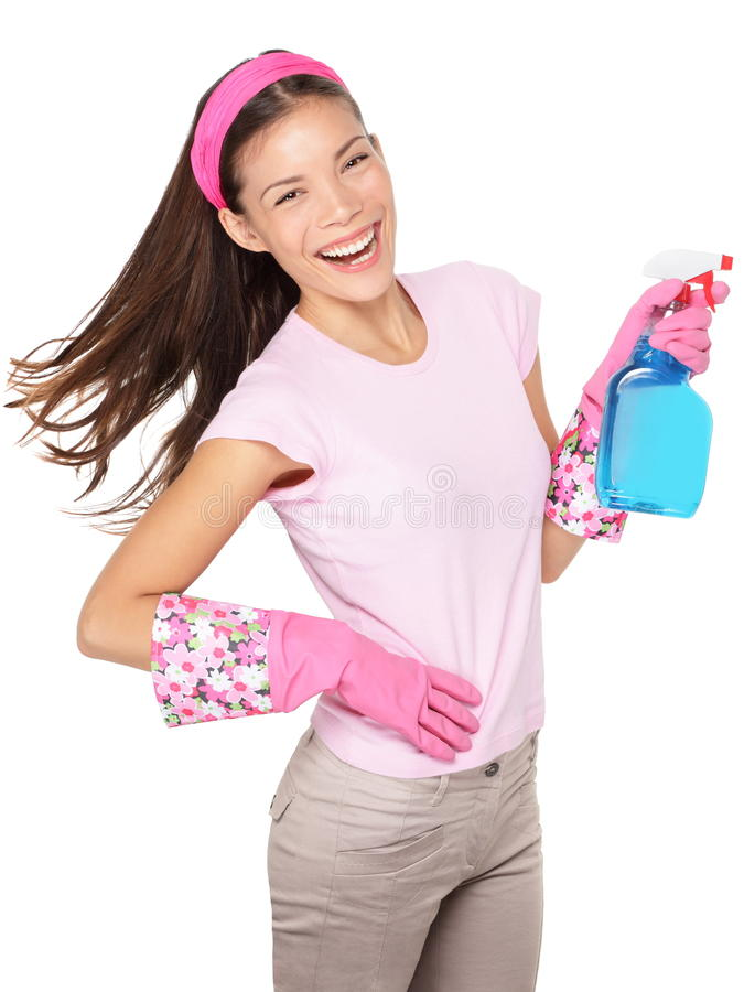 Spring cleaning woman fun isolated. Spring cleaning. Cleaning woman pointing cleaning spray bottle shooting happy and smiling royalty free stock image