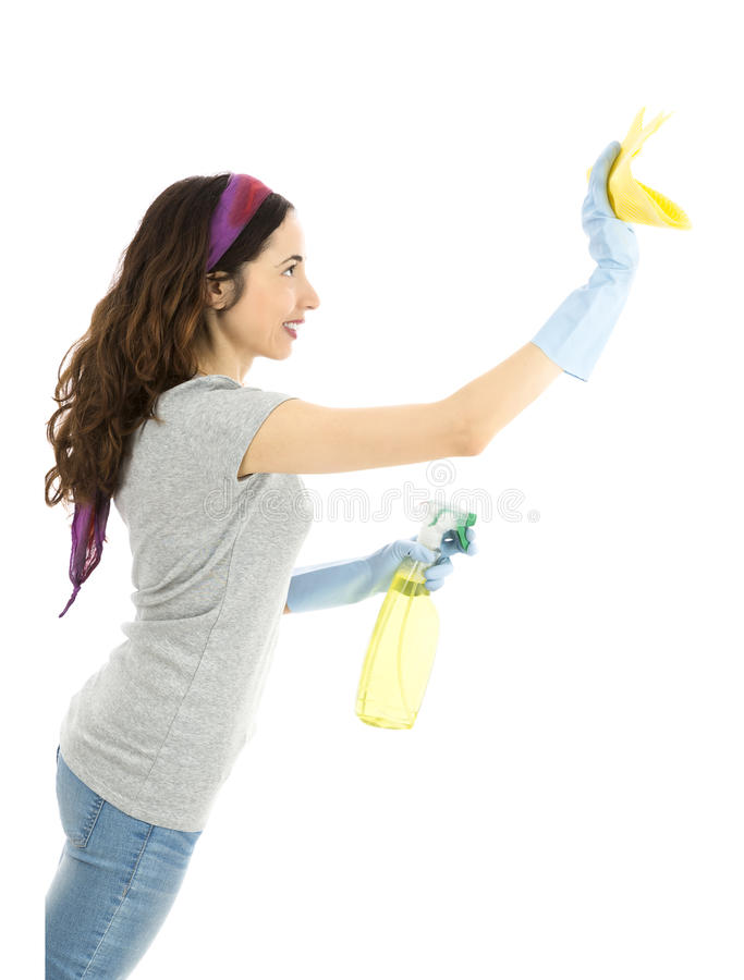 Spring cleaning. Woman with a spray detergent and a towel stock photo