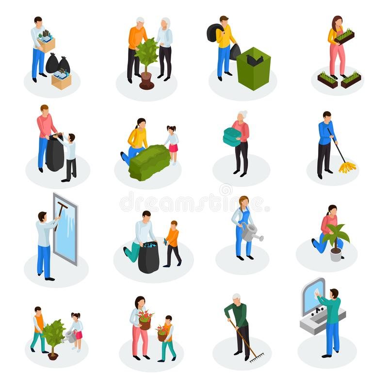 Cleaning Isometric Icons vector illustration