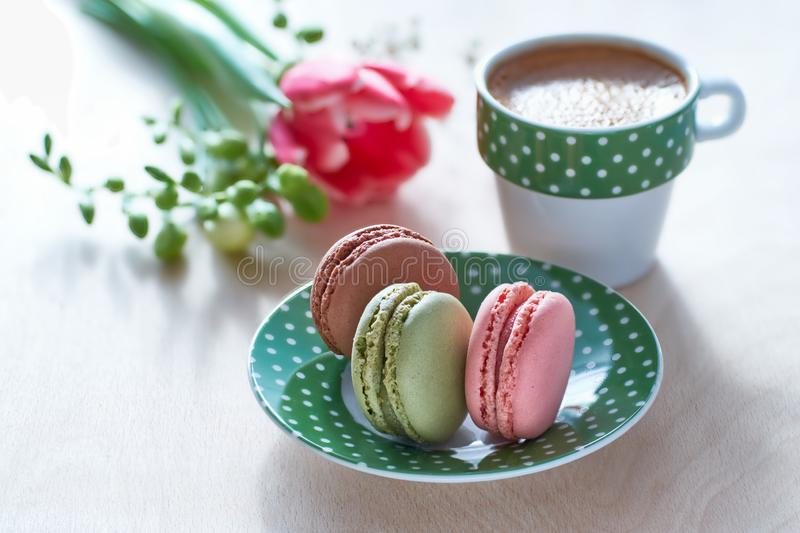 Spring coffee background. Pink tulip, freesia, espresso and macarons with spring flowers royalty free stock images