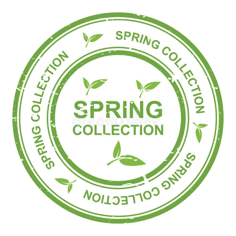 Spring collection. An illustration of a 'spring collection' label with green leaves stock illustration