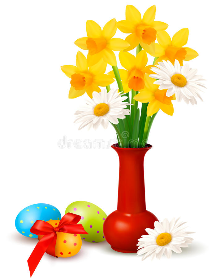 Spring colorful flowers in a vase with Easter eggs royalty free illustration
