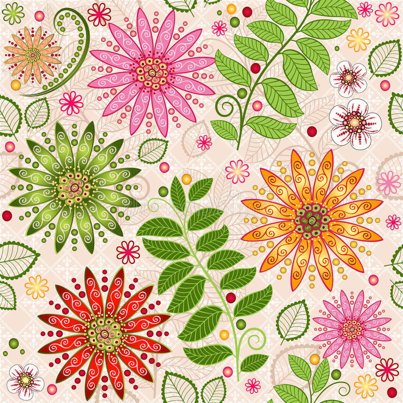 Spring colorful seamless floral pattern stock illustration