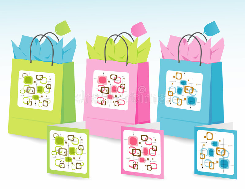 Spring Colors Gift Bags Royalty Free Stock Images
