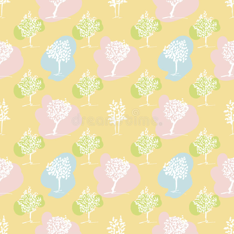 Spring colors tree design. Seamless pattern. Spring colors tree backgraund. Hand drawn trees set stock illustration