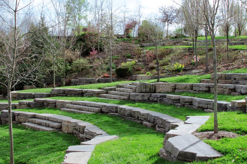 Outdoor stone amphitheater Wooster Ohio royalty free stock image