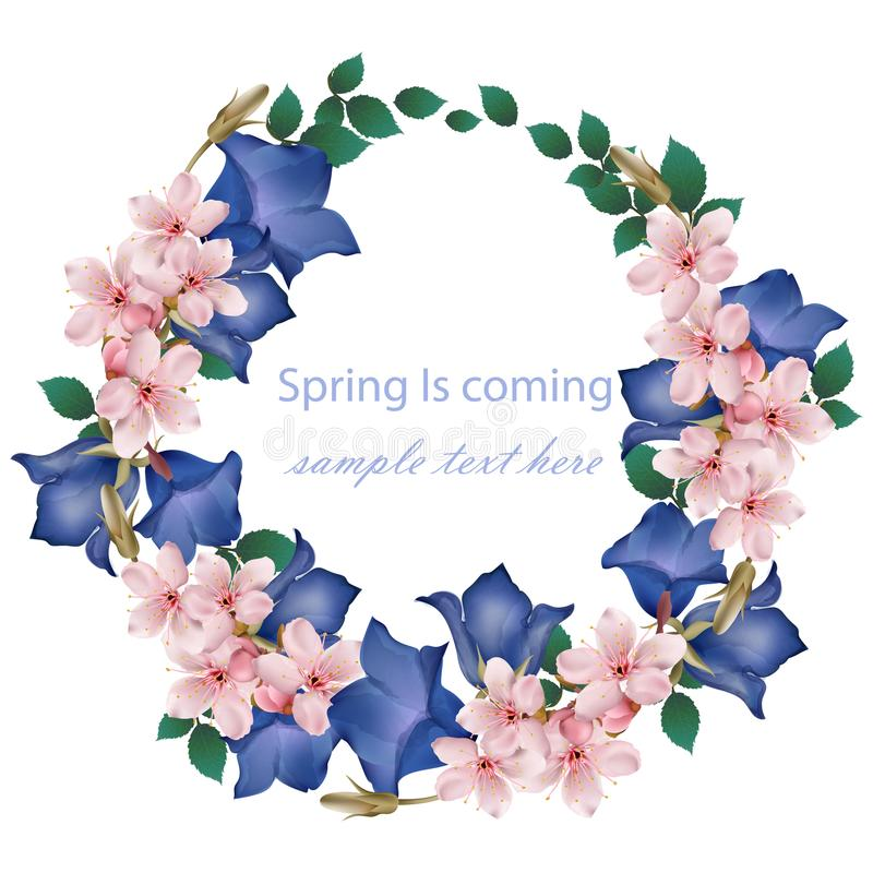 Spring is coming card with cherry flowers wreath Vector. Realistic detailed illustrations. Spring is coming card with cherry flowers wreath Vector. Realistic stock illustration