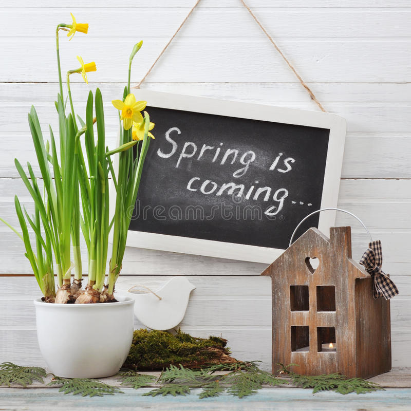 Download Spring is coming stock image. Image of blackboard, background - 39082559