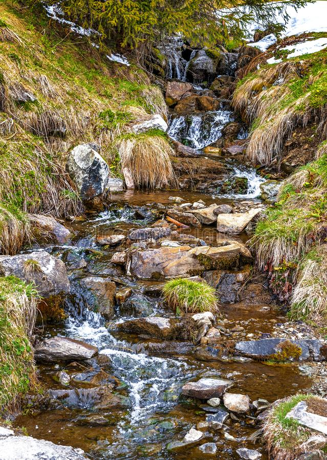 Spring creek waters. Spring coming to Swiss countryside stock photos