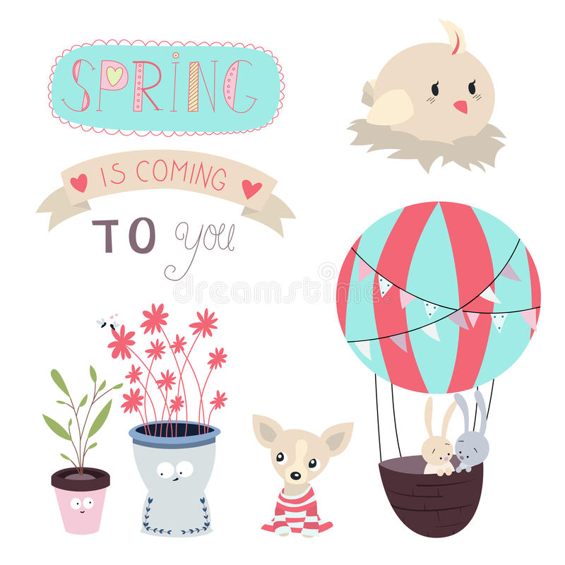 Download Spring Is Coming Vector Set Stock Vector - Illustration of happiness, card: 51237801