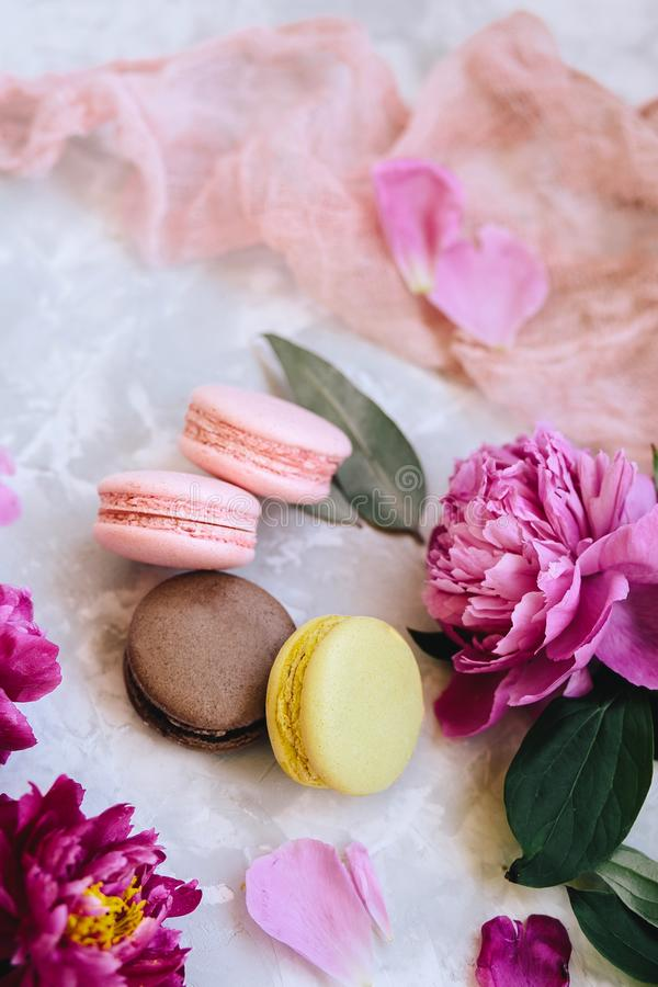 Spring composition: colorful macaroons with purple and pink peonies, green leaves on a light concrete background and a pink cloth stock photography