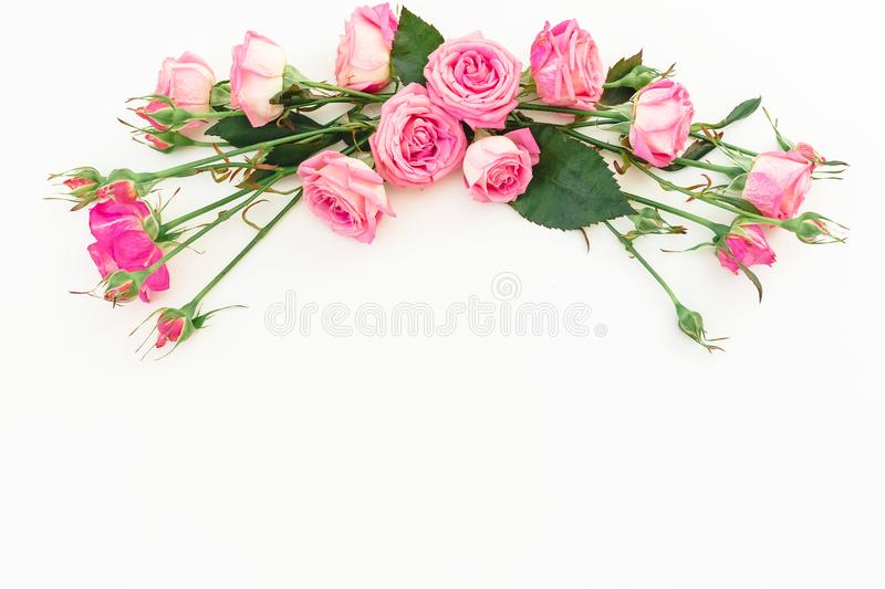 Spring composition with pink roses on white background. Top view. Flat lay. Floral frame of flowers, copy space stock image