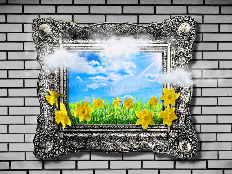 Nature concept. Abstract natural spring background with grass and narcissus in frame stock photos