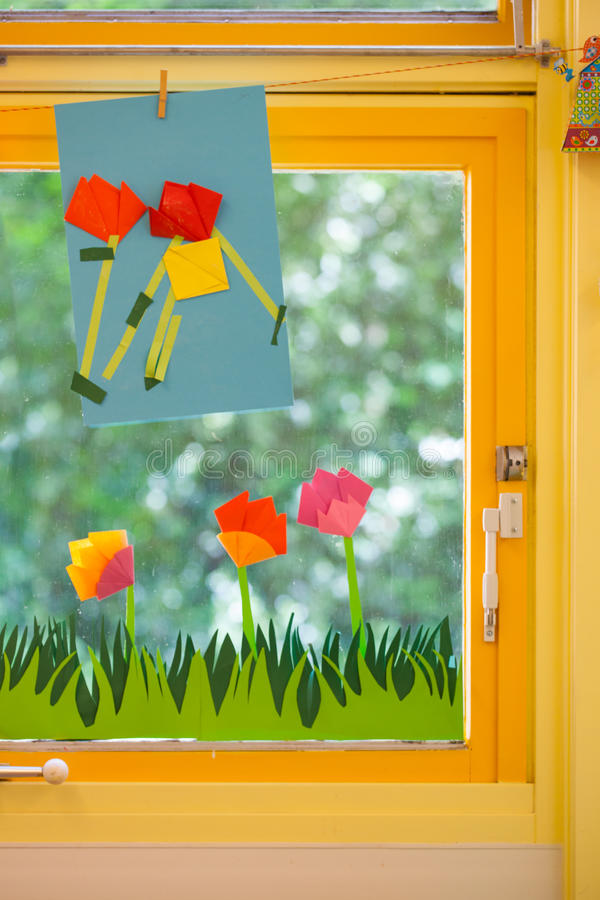 Classroom Decoration Primary School ~ Spring concept on an elementary school stock photo image