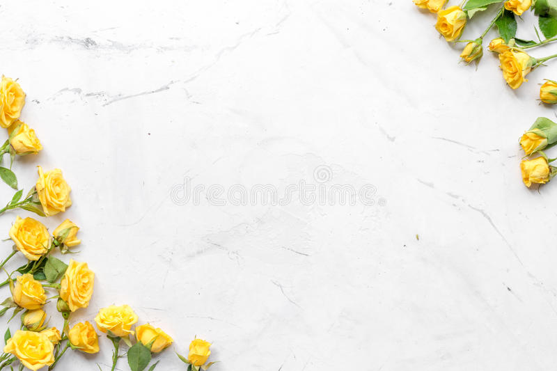 Spring Concept With Flowers On White Marble Table Background Top - Best of flower powerpoint background concept