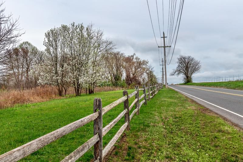 Spring Country Road. A country road through Monmouth Battlefield State Park in Freehold NJ royalty free stock images