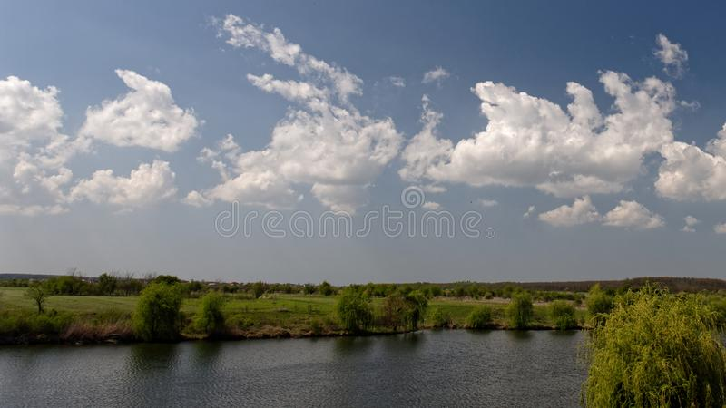Spring countryside, Corbeance, Ilfov County, Romania stock photo