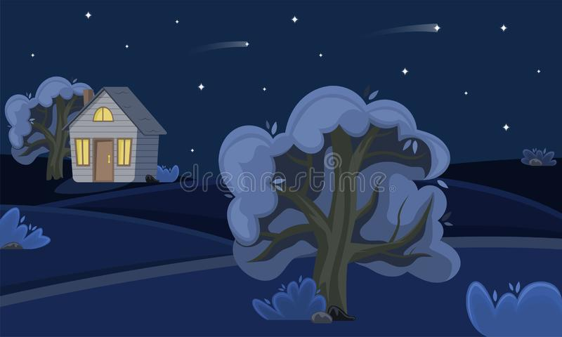 Spring countryside landscape at night. Summer fields stock illustration