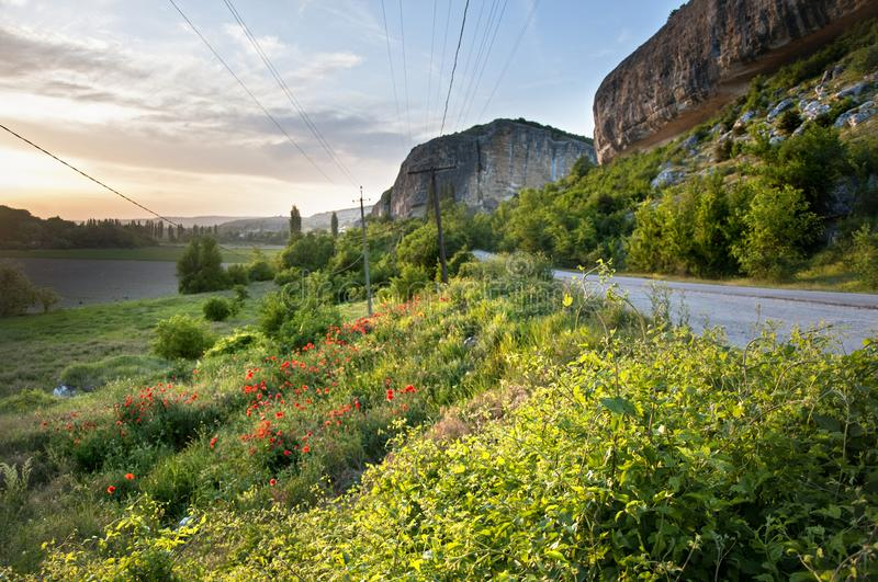 Spring in Crimea. Landscapes of the mountainous Crimeain spring time .View close to the cave city of Kachi Kalion near Bakhchisaray stock photos