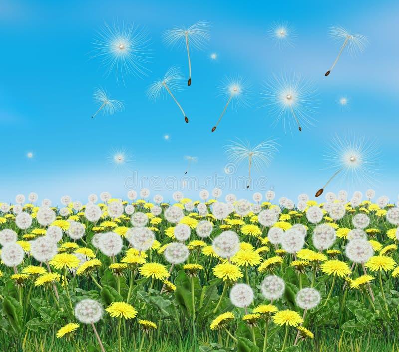 Download Spring Dandelion Landscape Illustration Stock Illustration - Image: 67235378