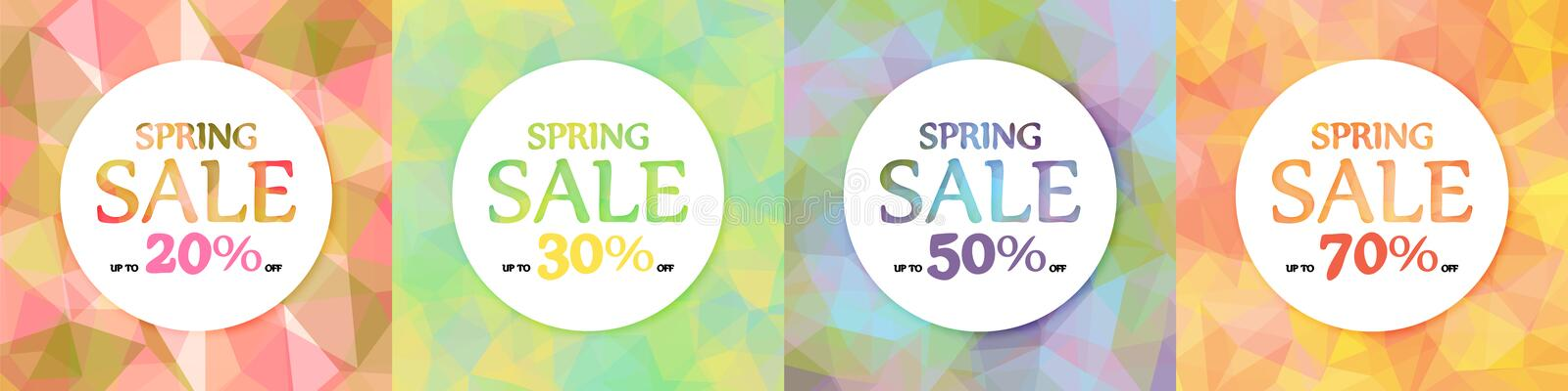 Spring discounts, sale. A set of four. White circles on a background of multicolored triangles, polygons. royalty free illustration