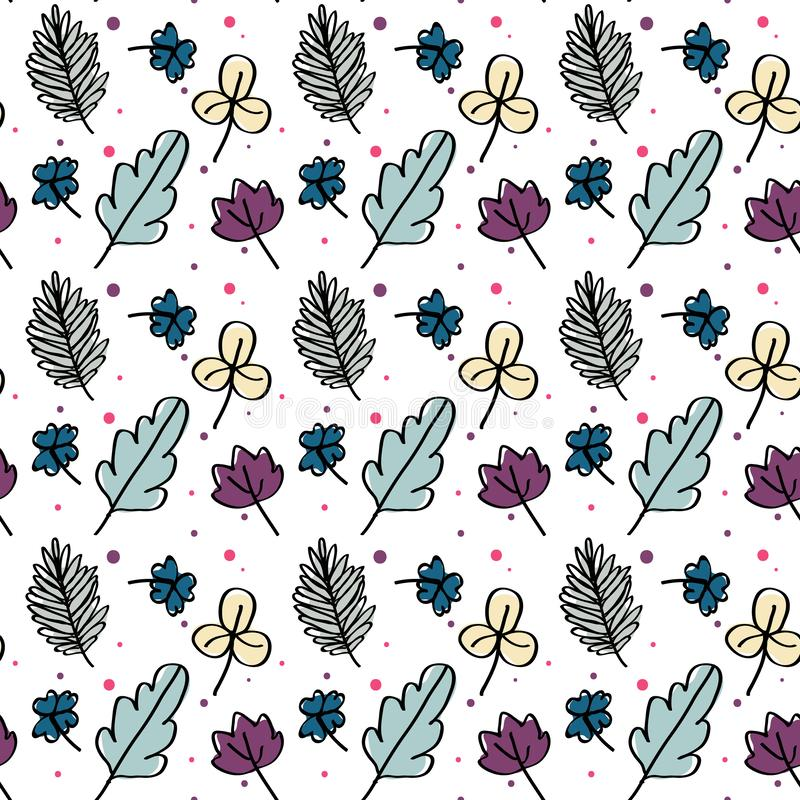 Spring doodle seamless floral pattern on white background vector vector illustration