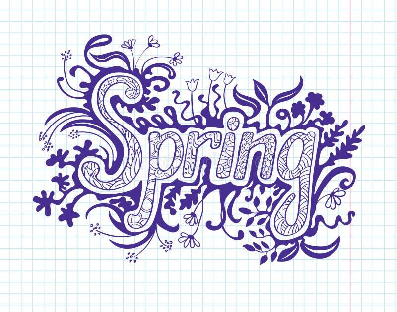 Spring doodles. Spring floral doodles, scrapbooking page stock illustration