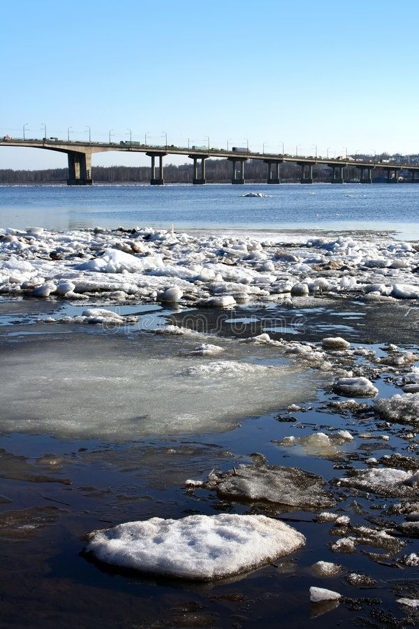Spring. Drifting Ice on river stock images