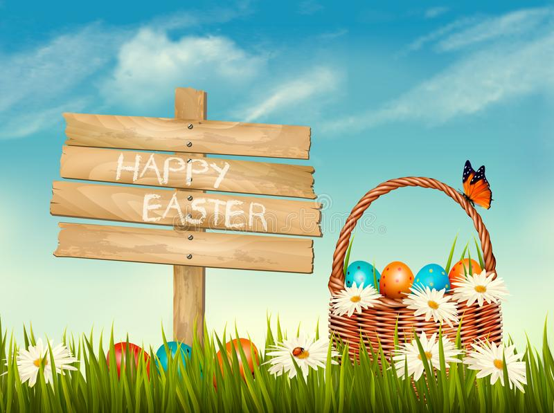 Spring Easter background. Basket with Easter eggs in grass vector illustration